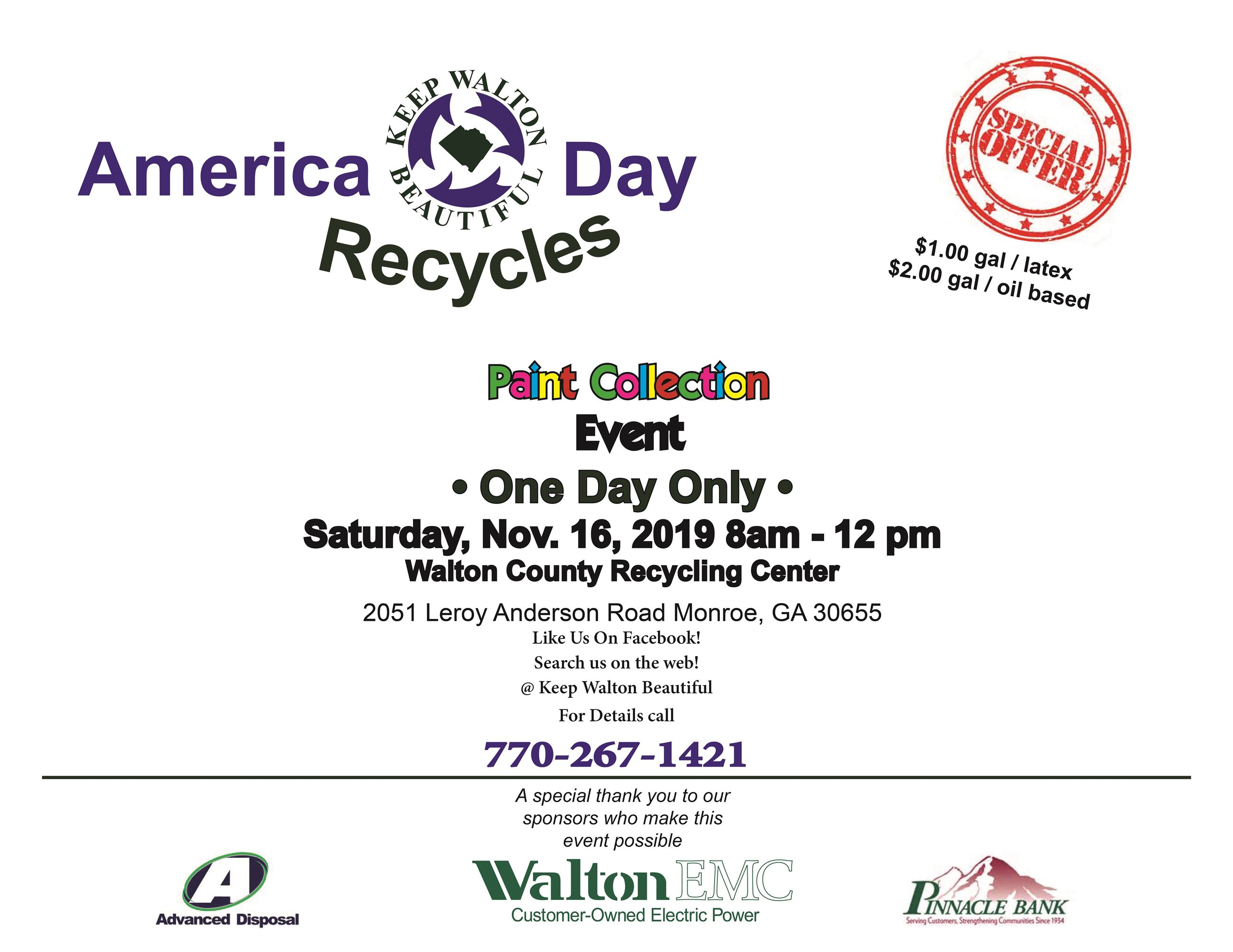 Keep Walton Beautiful Recycle Day 2019
